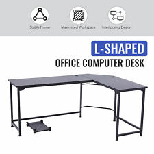 L Shaped Computer Desk W Tower Shelf Cable Management 47x19 66x19 Sides Black