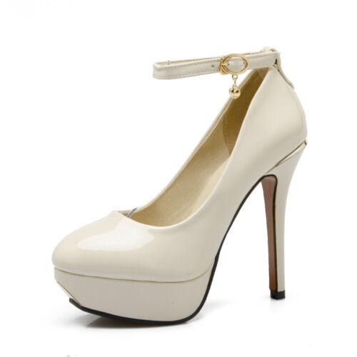 Damen Schuhe Pumps Lackleder Party Highheels Knöchel Fesselriemen Neu Gr:32-43