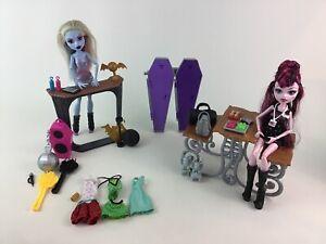 Monster-High-Deadlux-High-School-Playset-Lot-38pc-Abbey-Dolls-Accessories-Mattel