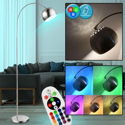 RGB LED Bogen Stand Leuchte DIMMER Fernbedienung Gäste Zimmer Steh Lampe Chrom