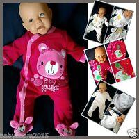 Baby Overall Nicki Einteiler Strampler Schlafanzug Teddy Bär Giraffe  Gr.50-68