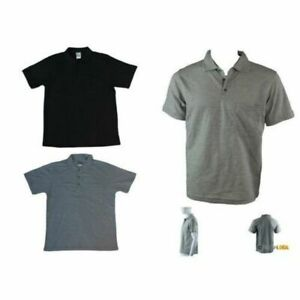 New-Men-039-s-Short-Sleeve-Polo-T-Shirt-Tee-Basic-Plain-Black-Grey-Cotton-Casual-Top