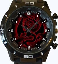 Black N Red Chinese Dragon New Gt Series Sports Unisex Watch
