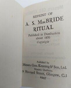 "Rare Vintage Masonic Book "" A.S. MacBRIDE RITUAL"" published Geo Kenning 1947"