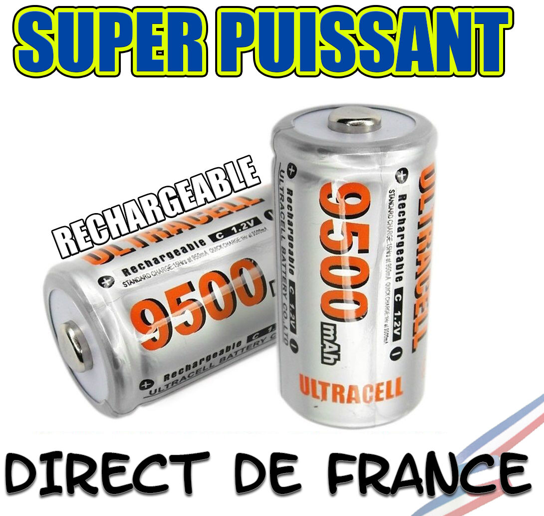Lot of 10 Battery C R14 LR14 9500mAh Rechargeable 1.2V NI-MH Accu Direct France