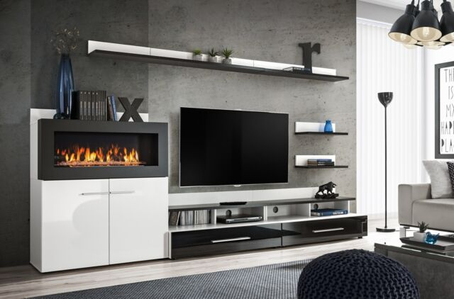 Cedar- entertainment wall unit with fire place / entertainment center cabinet