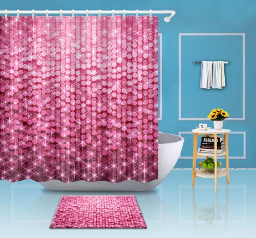 """72//79/""""Bath Waterproof Shower Curtain+Mat Rug+12Hook-Pink Flicker Sequins 3481"""