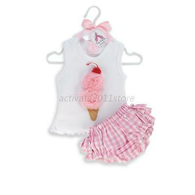 Kids Girls Ice Cream Shirts+Plaids Checks PP Pants Set Tutu Dress Outfits  A68