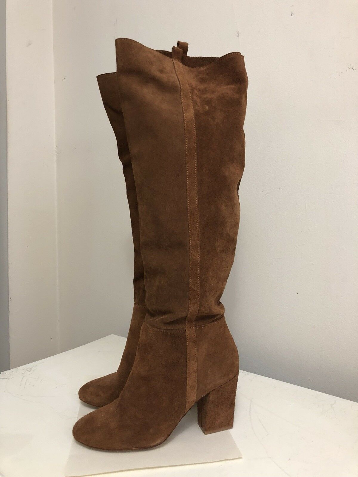 Nuevo genuino del ante marrón tostado Slouch Slouchy Talla la rodilla botas altas Zara 38 Talla Slouchy 8 930eae