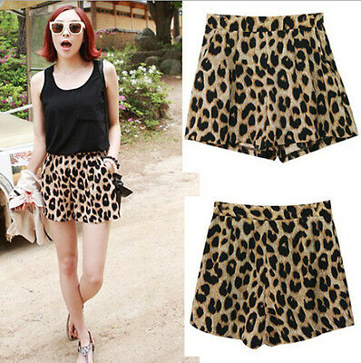 Sexy Women's Summer Casual Leopard Print Middle Waist Shorts Pants Trousers