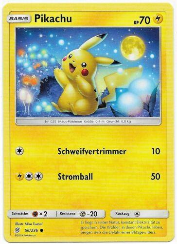 Pikachu 56//236 Mint Bund der Gleichgesinnten Common Sonne /& Mond 11