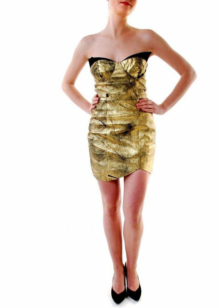 One Teaspoon femmes Holier Than cuir Robe Matte or Taille XXS