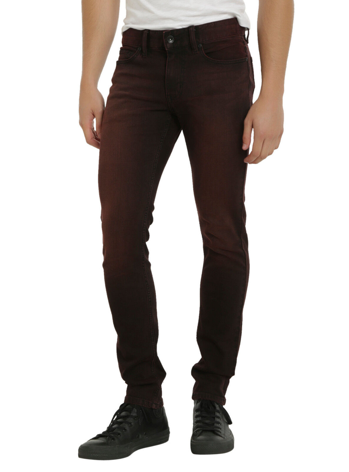 XXX RUDE Red Over-dye Wash Skinny Fit Jeans Men's Pants 28  Waist 32  Inseam NEW