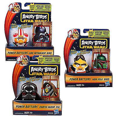 Star Wars & Angry Birds Power Battlers Han Solo Luke Skywalker Darth Vader SET