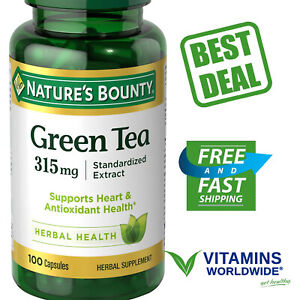 NATURE'S BOUNTY GREEN Tea Extract 315mg Herbal Supplement 100 Capsules 2 pack