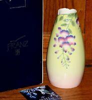 Franz Porcelain Wisteria Sculptured Flower Vase 10 In Box Fz00091