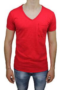 Détails sur Jersey T Shirt Homme Diamond Col en Forme de V Rouge Casual Polo Slim Fit avec