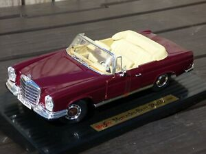 Raro-MERCEDES-BENZ-280-se-Convertible-1-18-coche-1966-Maisto-Juguete-Rojo-Cornalina