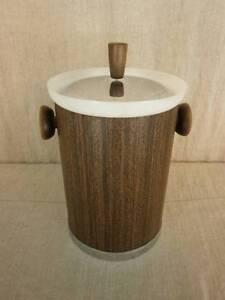 VTG Kromex Ice Bucket Wood Grain Vinyl Chrome Trim White Plastic Liner