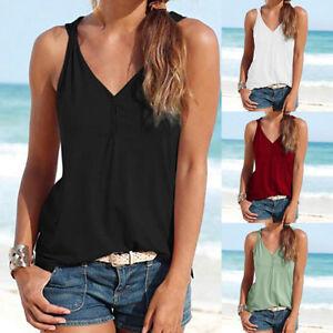 Women-Summer-Strappy-Sleeveless-V-Neck-Tank-Vest-Tops-Loose-Basic-T-Shirt-Blouse