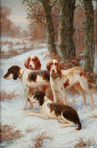 No framed artwork Oil painting Max Carlier Belgian A walk in the snow nice dogs
