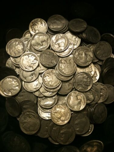 20x Buffalo Nickels Half Roll P D S 1913-1938 Indian 5 Cent AG-AU US Type Mint