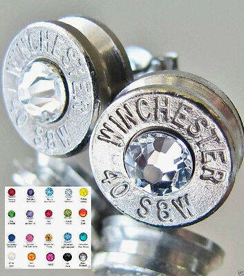 40 S&W Winchester Bullet Earrings CHOICE Swarovski Crystal Silver Nickel NEW!!!