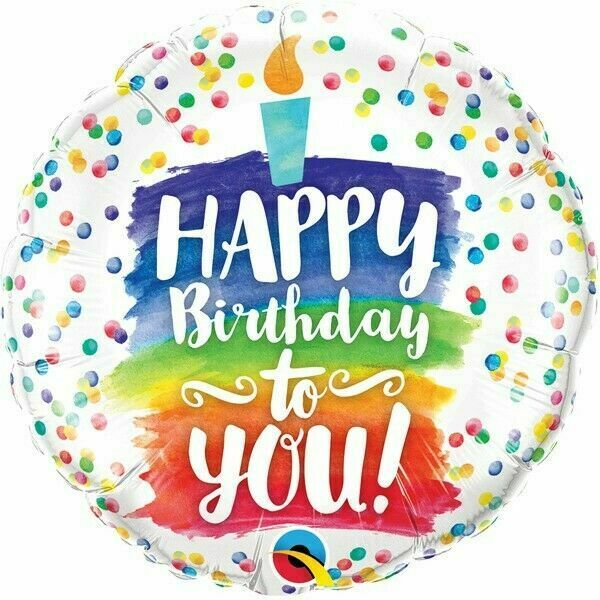 Astounding Happy Birthday To You Rainbow Cake Qualatex 18 Inch Foil Balloon Funny Birthday Cards Online Alyptdamsfinfo