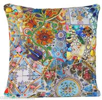 Blue Mosaic Cushion Cover Printed Throw Pillow Case Cotton Fabric Yellow Red B