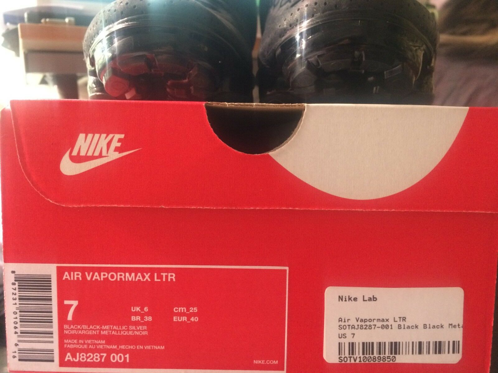 huge selection of 17dd3 f3a52 ... Nike Air Max Max Max Vapormax LTR TRIPLE BLACK LEATHER SILVER WHITE  AJ8287-001 sz ...