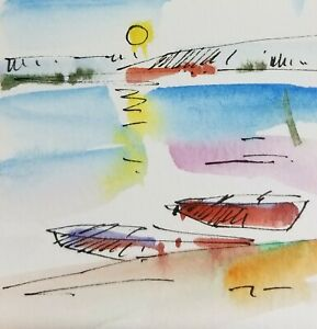 JOSE-TRUJILLO-ORIGINAL-Watercolor-Painting-SIGNED-Small-3x3-Sunset-Lake-Boats