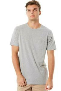 Rip-Curl-PLAIN-POCKET-TEE-Mens-Crew-Neck-T-Shirts-New-CTELL2-Grey-Marle