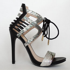 af3dbb4293 Black Caged Ankle Cuff Lace-Up Stiletto High Heels Snake Open Toe ...