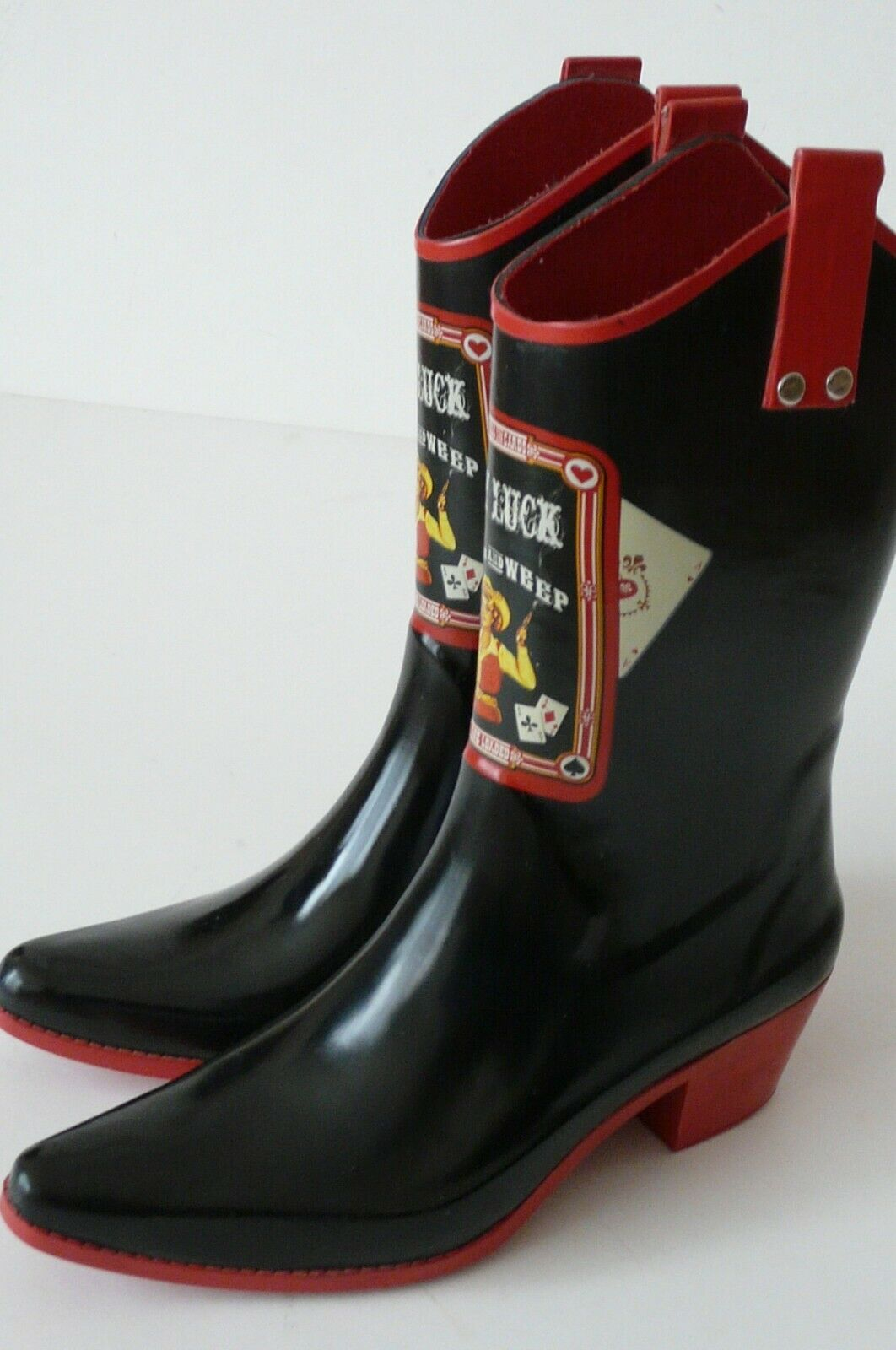 NOMAD LADY LUCK READ`EM AND WEEP BLACK RED TRIM RUBBER RAIN BOOTS  sz 9