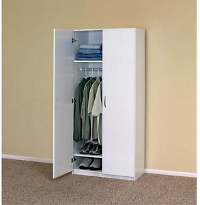 Image Is Loading Portable Closet System White Wood Wardrobe Cabinet Clothes