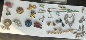 Avon 2020 Christmas Flamingo Lot of 16 Costume Pieces Rhinestone Sterling Christmas Avon