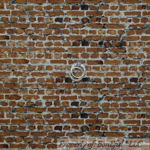 BonEful FABRIC FQ Cotton Quilt Dark Brown Gray BRICK Stone Home House City