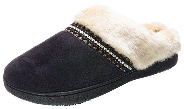 isotoner Black Microsuede Joey Low Boot Slippers 06993B