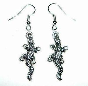 Vintage-style-silver-lizard-charm-earrings