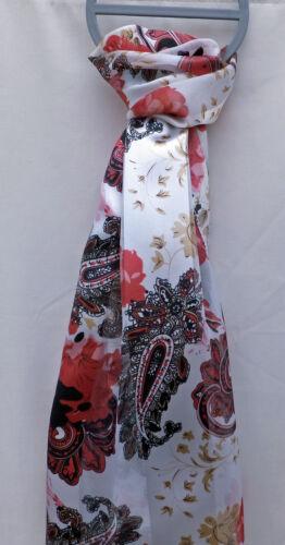 RED BLACK BROWN BEAUTIFUL LADIES SATIN STRIPE FLORAL PRINT FASHION SCARF