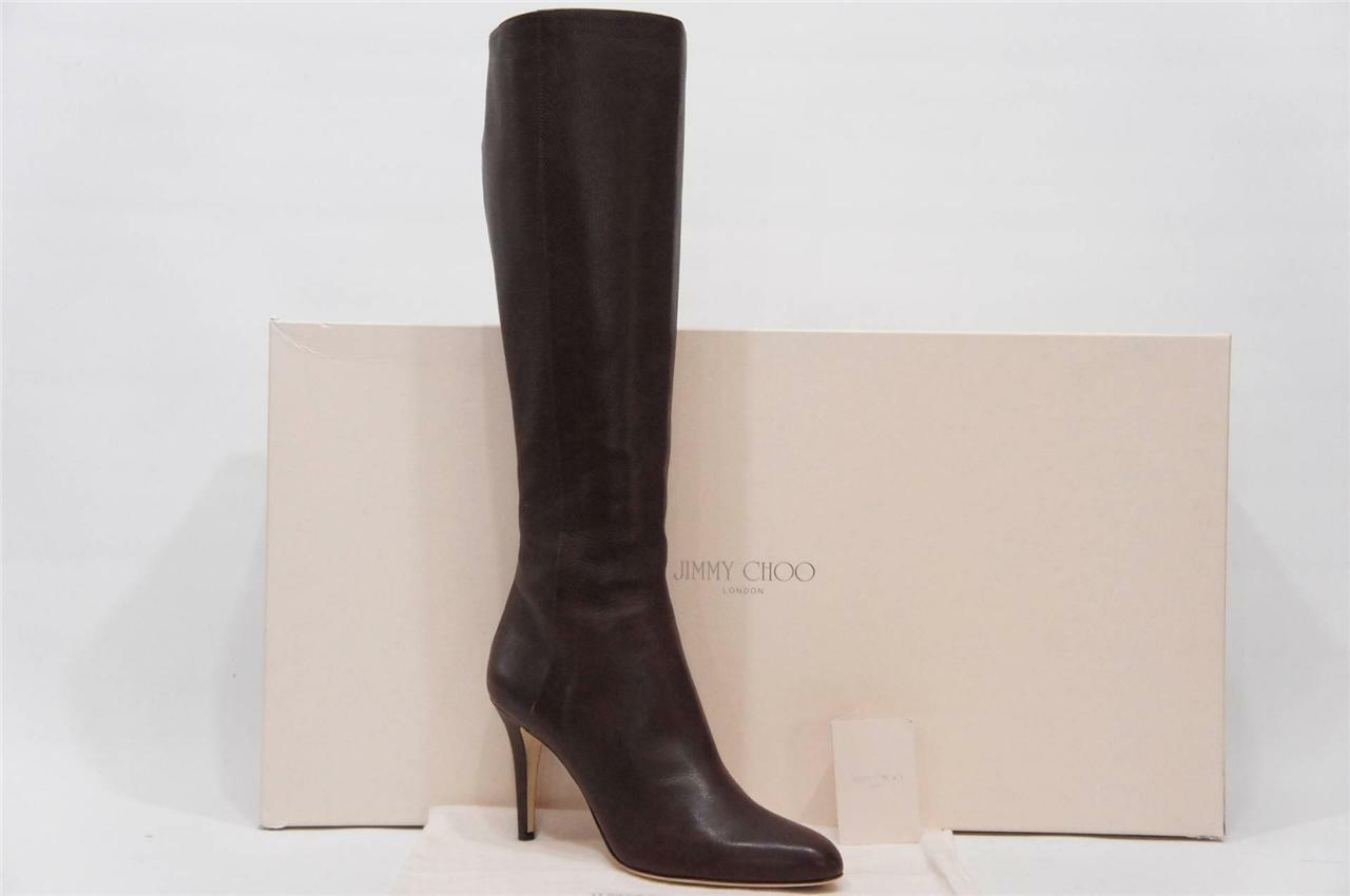 JIMMY CHOO GRAN BROWN LEATHER BOOTS SHOES  40.5/ 10 $995