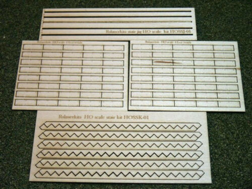 STAIRS 3/' TREADS HO Scale Model Railroad Structure Unptd Laser Kit RSL2503-3