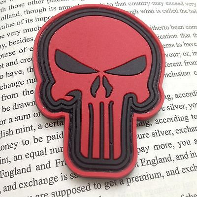 AIRSOFT morale patch  3D PVC Shield Punisher cross red