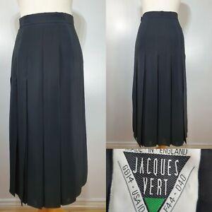 Jacques-Vert-Vintage-Black-Kick-Pleat-Pleated-Midi-Skirt-Size-10