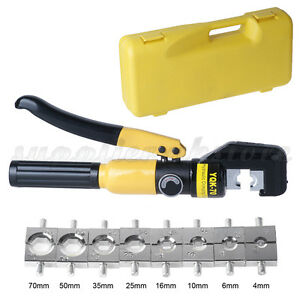 4 70mm hydraulic crimper tool kit tube terminal lugs battery wire crimping force ebay. Black Bedroom Furniture Sets. Home Design Ideas