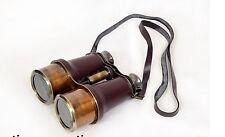 World War 2 WWll Victorian Marine Large Binocular Solid Brass ~ Leather Overlay