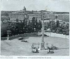 Roma:Quartiere Prati di Castello (Rione Prati).Stampa Antica + Passepartout.1893