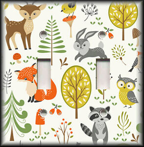 Image Is Loading Metal Light Switch Plate Cover Hipster Woodland Animals