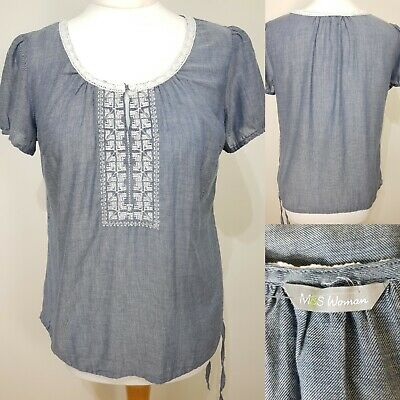 M/&S Indigo Collection Size 10 Embroidered Soft White Strappy Top Bnwt