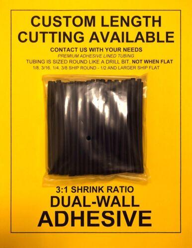 "4/"" 50pcs Dual-Mur Adhésif Doublé 3:1 Heat Shrink Tubing 3//8/""//9 mm I.D noir"